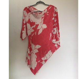 Foreign exchange pink white floral off blouse